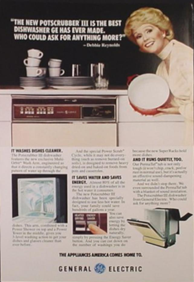 Debbie Reynolds in GE PotScrubber Dishwasher ads.