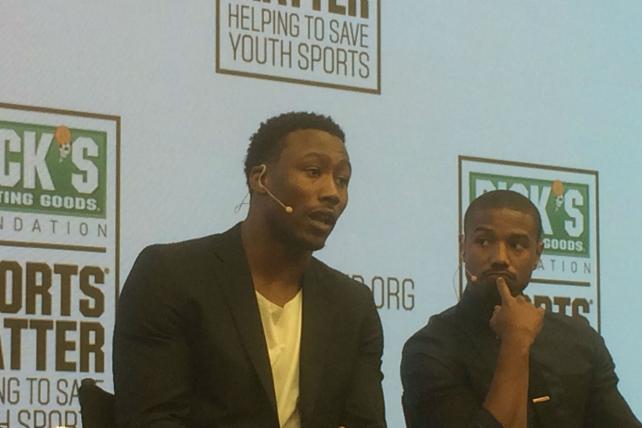 New York Jets' Wide Receiver Brandon Marshall and actor Michael B. Jordan were participants in a panel discussion of the importance of youth sports in Times Square on Tuesday.