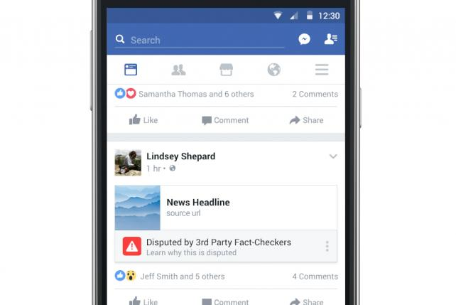 A hypothetical 'disputed' article in Facebook's feed.