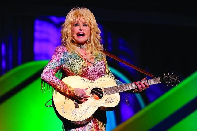 Dolly Parton at NBC's 2015 upfront pitch to advertisers.