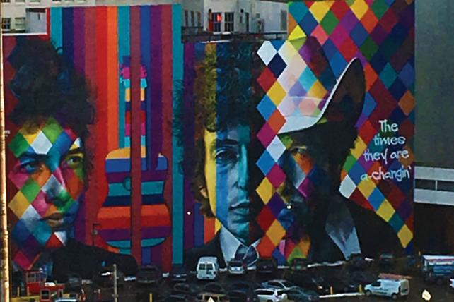 A mural of Bob Dylan, Minnesota born and bred
