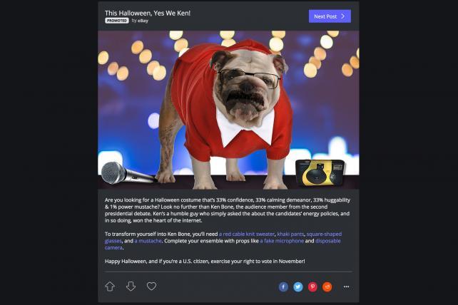 An eBay ad on Imgur latched on to debate star Ken Bone's legend.