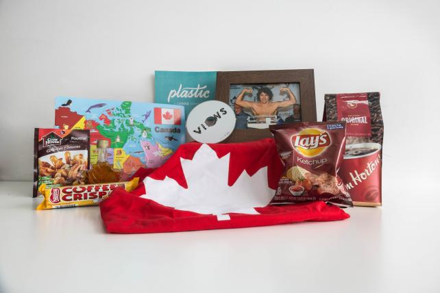 'Eh to Zed' kit includes coffee from Tim Hortons, an album by Drake, and a photo of Canadian Prime Minster Justin Trudeau without a shirt.