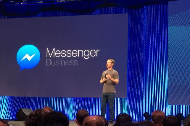 Facebook CEO Mark Zuckerberg on stage at the company's F8 developer conference in San Francisco.