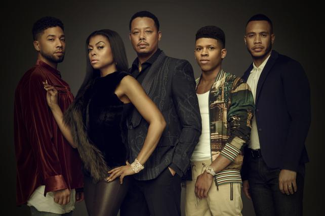 Jussie Smollett, Taraji P. Henson, Terrence Howard, Bryshere Gray and Trai Byers, cast members on Fox's hit 'Empire,' which returned to the air last week.