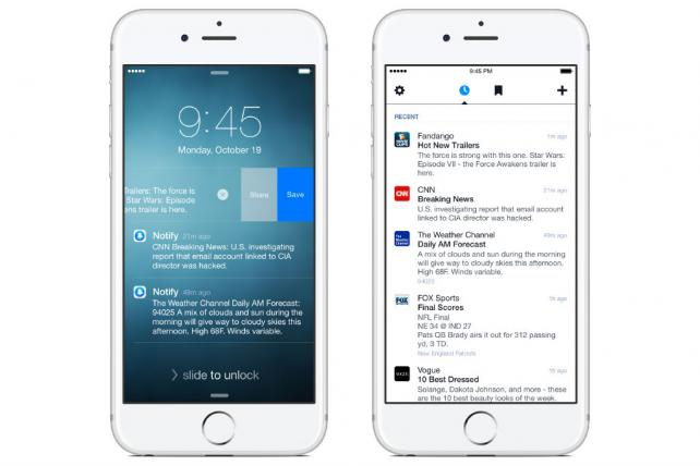 Facebook's Notify app lets people receive notifications from media companies including CNN, The Weather Channel and Fox Sports.