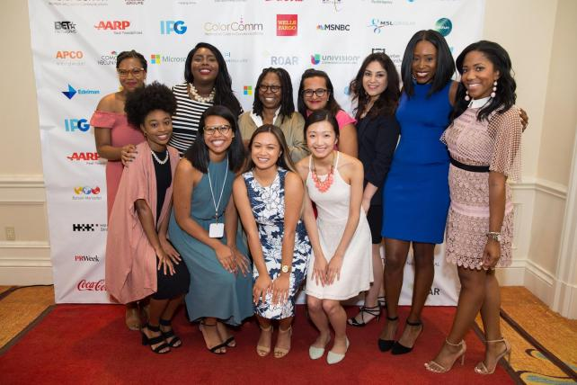 ColorComm's first nine Fellows with ColorComm Founder Lauren Wesley Wilson (right) and Whoopi Goldberg (middle)