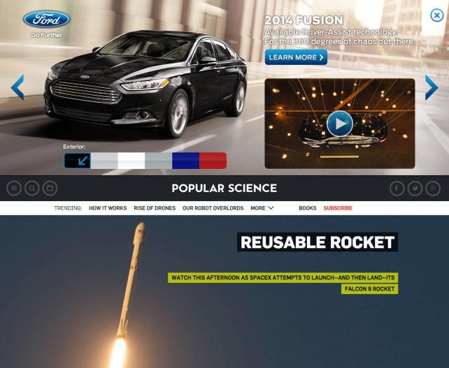 Undertone pushdown ad on Popular Science
