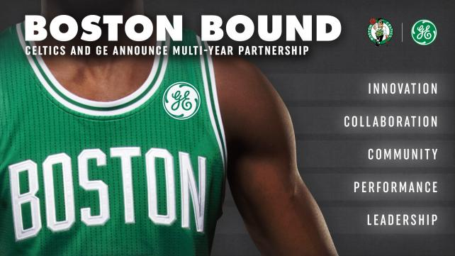 GE and the Boston Celtics announced a multi-year partnership that includes placing the marketer's logo on the team jerseys.