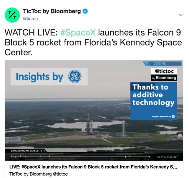 There's a lot of downtime during a rocket launch, Bloomberg says, calling that an opportunity for brands.