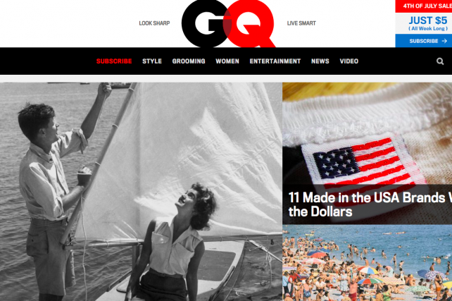 GQ.com's redesigned home page