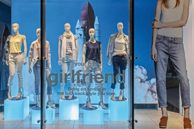 A window display for Gap fashions, which have often performed best when they emphasized the basics.