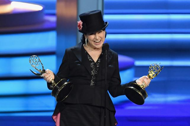 Amy Sherman-Palladino accepts the Outstanding Directing for a Comedy Series award for 'The Marvelous Mrs. Maisel' during the Emmy Awards on Monday night.