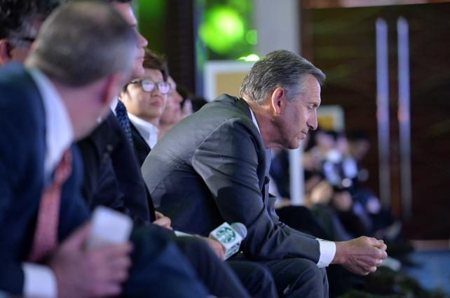 Starbucks Chairman and CEO Howard Schultz attends the 2016 Starbucks Partner Family Forum at Shangri-La Hotel on January 12 in Chengdu, China.