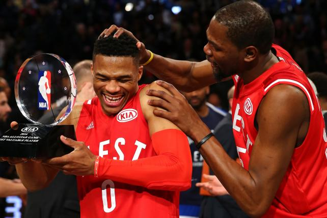 Russell Westbrook and Kevin Durant, during happier times at last year's NBA All-Star Game, at the Air Canada Centre in Toronto.
