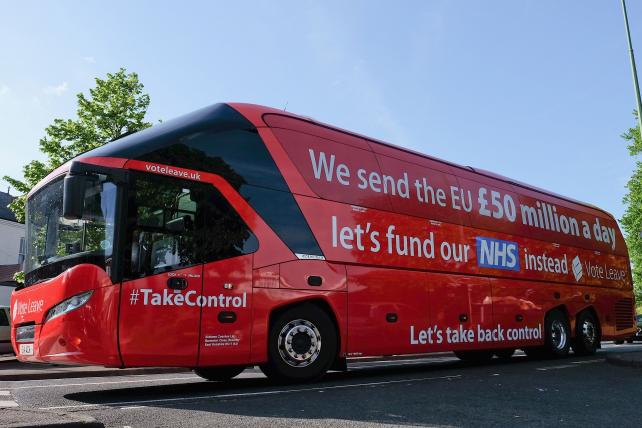 The Brexit battle bus arrives at Chester-Le-Street Cricket Club ahead of a visit by Boris Johnson as part of a Brexit tour on May 30.