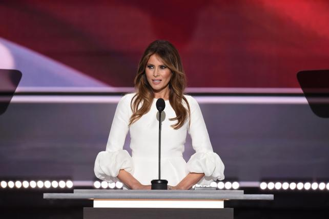 Melania Trump, wife of presumptive Republican presidential candidate Donald Trump, addresses delegates on the first day of the Republican National Convention on July 18, 2016, at Quicken Loans Arena in Cleveland.