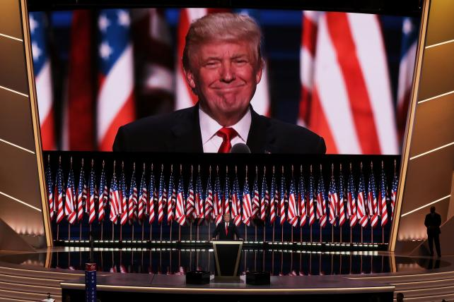 Republican presidential candidate Donald Trump delivers his convention-closing speech at the fourth day of the RNC on July 21, 2016, at the Quicken Loans Arena in Cleveland.