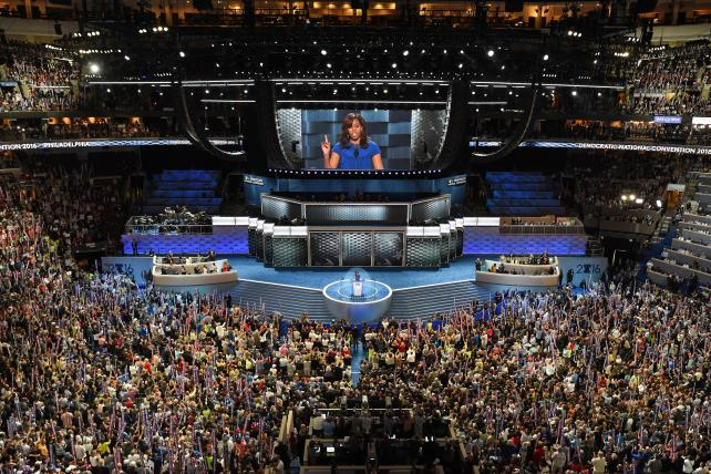 Michelle Obama addresses delegates on the opening night of the Democratic National Convention in Philadelphia.