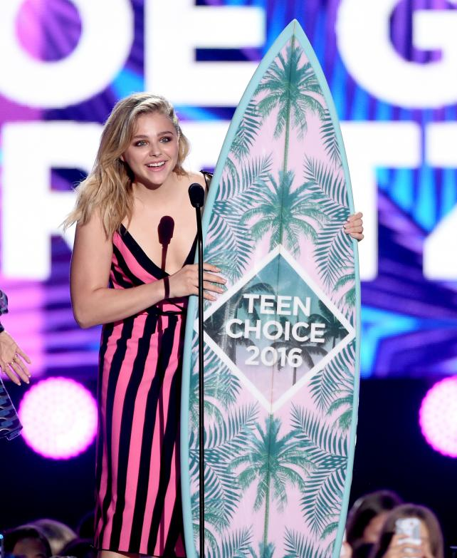 Actress Chloe Grace Moretz accepts award for Choice Movie Actress: Comedy onstage during Teen Choice Awards 2016 at The Forum on July 31, 2016 in Inglewood, California.