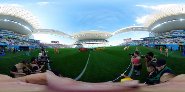 An Equirectangular Panorama, or 360 image, from Getty Images Sports at Rio 2016's match between Canada and Zimbabwe women's football.