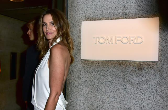 Cindy Crawford arrives at Tom Ford's Fashion Week runway show on September 7 in New York.
