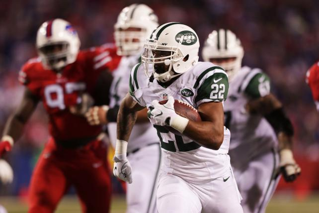 Matt Forte of the New York Jets runs against the Buffalo Bills at New Era Field on Thursday.
