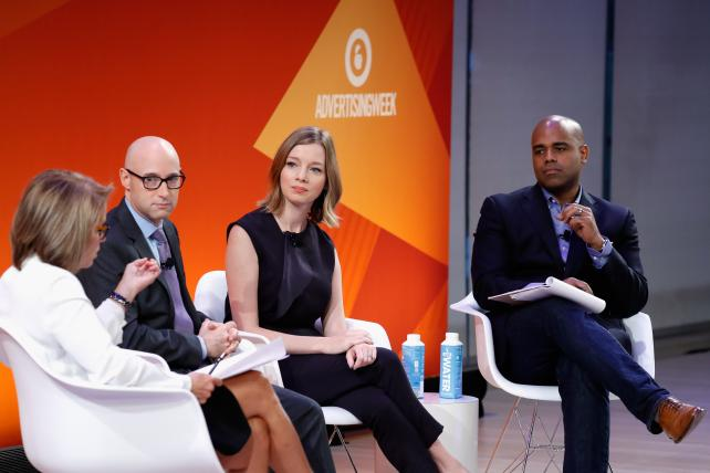 (From l.) Katie Couric, Matt Bai, Kristen Soltis Anderson and Jamal Simmons debate the debate at the 'Elections 2016: The Wild Ride to the White House' panel at the Times Center Stage during Advertising Week on Sept. 27 in New York City.