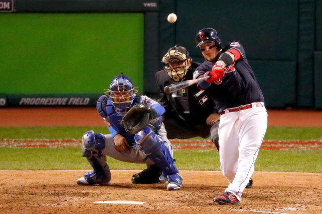Roberto Perez #55 of the Cleveland Indians hits a three-run home run during the eighth inning against the Chicago Cubs in Game One of the 2016 World Series at Progressive Field on October 25, 2016 in Cleveland, Ohio.