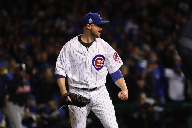 Jon Lester of the Chicago Cubs reacts after pitching in the fifth inning against the Cleveland Indians in Game 5 of the World Series at Wrigley Field on Sunday.