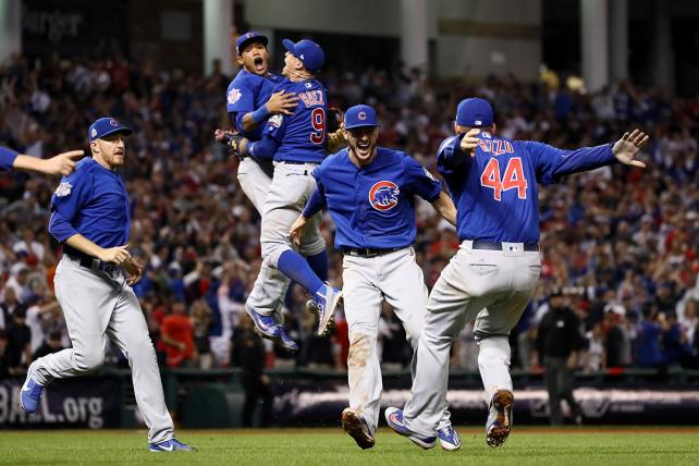The Chicago Cubs celebrate after defeating the Cleveland Indians 8-7 in Game Seven of the 2016 World Series at Progressive Field on November 2, 2016, in Cleveland, Ohio.