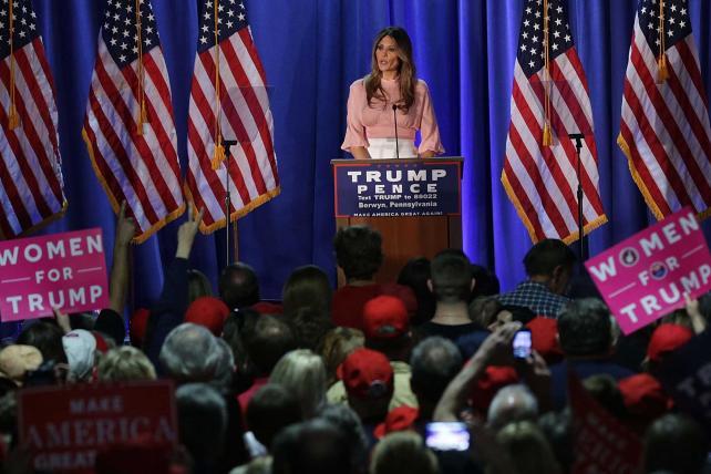Melania Trump, wife of Republican presidential nominee Donald Trump, at a campaign event in Berwyn, Pennsylvania.