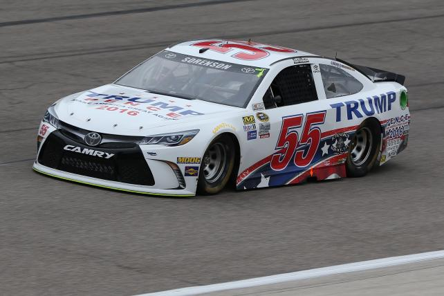 Reed Sorenson, driver of the #55 Trump-Pence Toyota, practices for the NASCAR Sprint Cup Series AAA Texas 500 at Texas Motor Speedway.