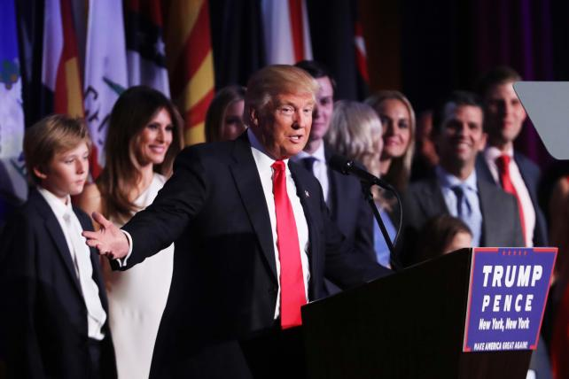 Republican president-elect Donald Trump delivers his acceptance speech during his election night event at the New York Hilton Midtown in the early morning hours of November 9, in New York City.