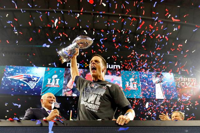 Tom Brady of the New England Patriots celebrates after defeating the Atlanta Falcons in Super Bowl LI on Fox's broadcast Feb. 5, 2017.