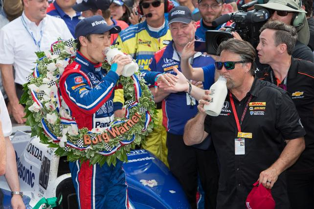 Takuma Sato wins the 101st running of the Indianapolis 500 on May 28, 2017.