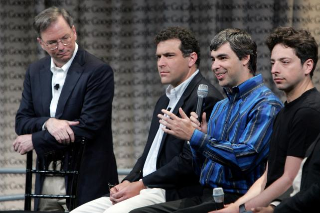 Google's then-CEO Eric Schmidt (far l.) with founders Larry Page (second from r.) and Sergey Brin (far r.)