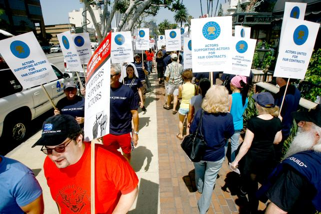 Screen Actors Guild members and supporters at a 2008 rally about contract negotiations outside the Screen Actors Guild National Headquarters in Los Angeles. Shelly Palmer argues that the new pending contract should be rejected.