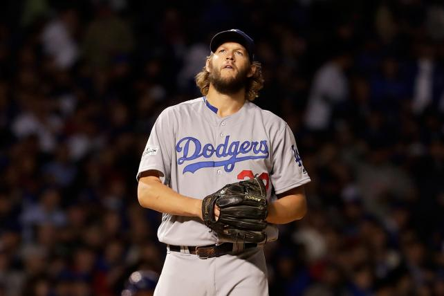 Clayton Kershaw of the Los Angeles Dodgers stands on the mound during game five of the National League Championship Series against the Chicago Cubs.