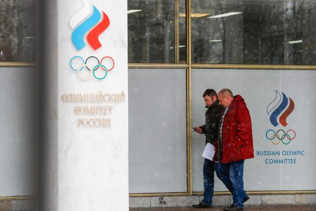 Outside the Moscow offices of the Russian Olympic Committee (ROC) on December 6, 2017, following the IOC announcement of its suspension, banning Russia from the 2018 Winter Olympic Games.