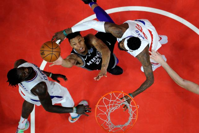 Malachi Richardson #23 of the Sacramento Kings has his shot blocked by Willie Reed #35 of the Los Angeles Clippers during the second half of a basketball game at Staples Center on December 26, 2017 in Los Angeles, California.