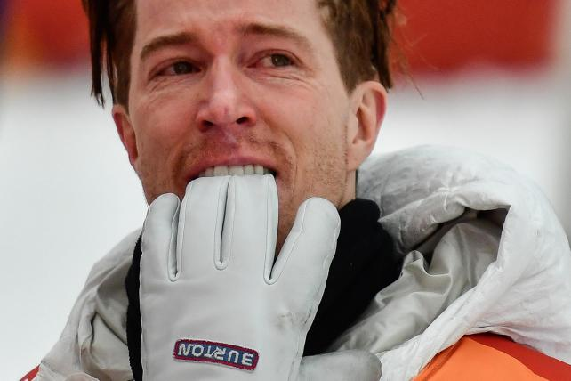 Shaun White celebrates after winning the final of the men's snowboard halfpipe during the Winter Olympics in PyeongChang.