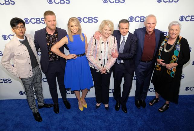 (From l.) Nik Dodani, Jake McDorman, Faith Ford, Candice Bergen, Grant Shaud, Joe Regalbuto and Tyne Daly from