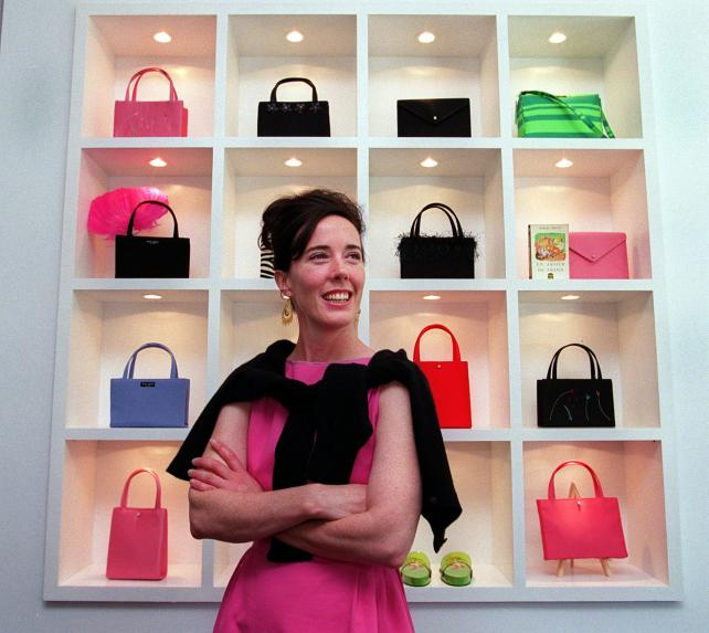 Kate Spade poses for a portrait in her new handbag store on Newbury Street in Boston on June 25, 1999.