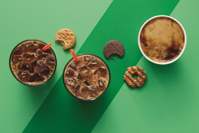 Dunkin' Donuts is looking to cash in on Girl Scout Cookies with coffee flavors to match.