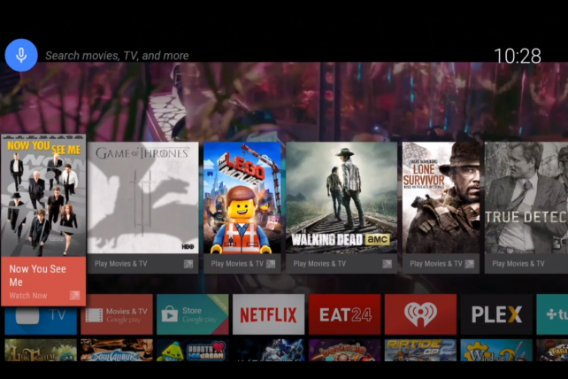 A screen from Google's Android TV system.
