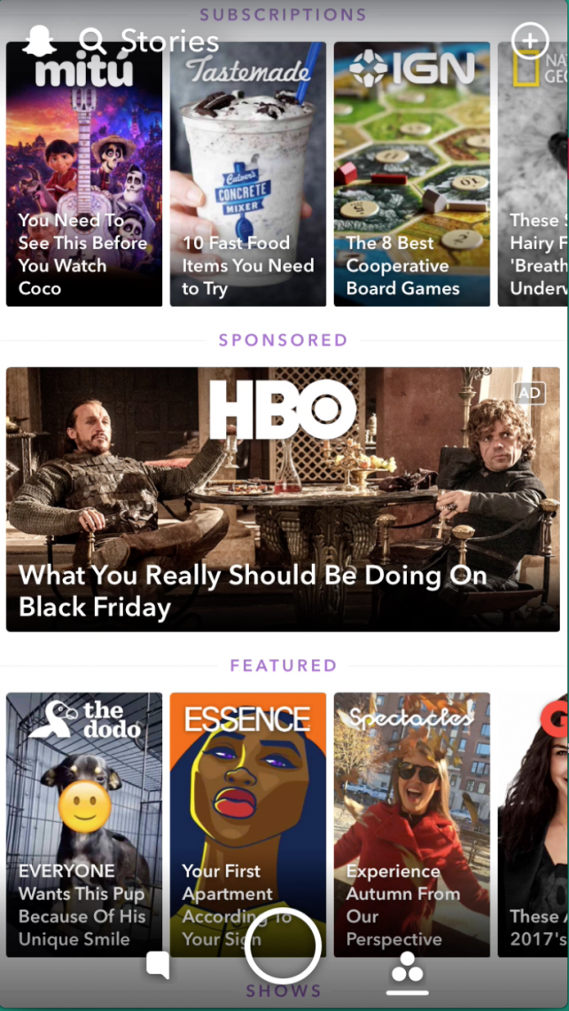 HBO's Promoted Story ad fits right into Snapchat's media section