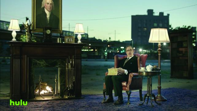 A scene from Hulu's commercial advertising a commercial-free service.
