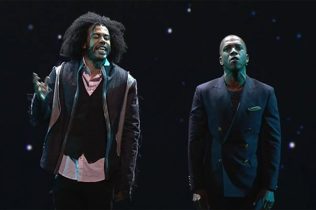'Hamilton' stars Daveed Diggs and Leslie Odom Jr. perform at the ESPN upfront.