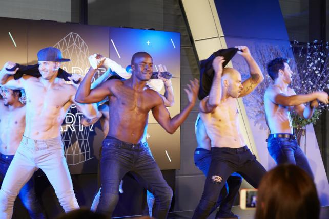 The cast of Channing Tatum's 'Magic Mike Live' show performed at Hearst Magazines' NewFronts pitch Wednesday night.